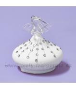 Sklenený anjel cibulka so špirálovým ornamentom 8cm, matná biela
