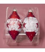 Šošovky sklenené so zasneženou hviezdou 10cm, matná červená , sada 2 kusy