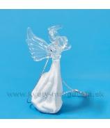 Anjelik sklenený so srdcom 6cm, biely mat a čire sklo