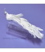Páv LUREX biely 23cm na štipci
