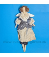 Anjelik bábika Dolly v sivom kožúšku  s kožušinkou