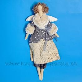 Anjelik bábika Dolly v sivom kožúšku  s kožušinkou -50%