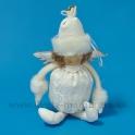 AKCIA ZĽAVA - 50% Anjel brokát s kožušinovou čiapkou biely 26cm