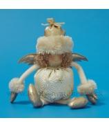 Anjel brokát s kožušinovou čiapkou biely 26cm