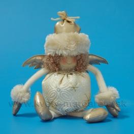 AKCIA ZĽAVA - 50% Anjel brokát s kožušinovou čiapkou Champagne 26cm
