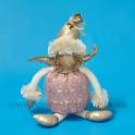 AKCIA ZĽAVA - 50% Anjel brokát s kožušinovou čiapkou krémovo-rúžový 26cm