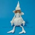 AKCIA ZĽAVA -50% Anjel sediaci brokát s kožušinovou čiapkou 60cm