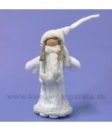 Anjel v úpletovom kožuchu so srdcom 40cm