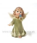 Anjelik s vtáčikom zelený 9cm