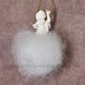 Anjelik závesný s krýštálom na obláčiku 7cm