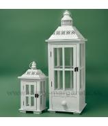 Lampáše so šuflíkom sada 2 kusov biele 70cm a 35cm