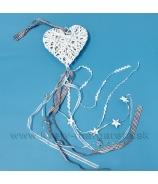 Závesné srdce so stuhami a hviezdami bielo hnedé