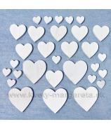 Drevené srdcia mix 3 veľkosti biele