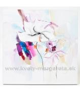 Obraz Dáma s motýľmi olej na plátne 60x60 cm