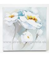 Obraz Dve biele Anemónie olej na plátne 60x60 cm