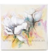 Obraz 4 Biele Anemónie olej na plátne 40x40 cm