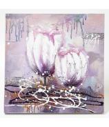 Obraz Biele Magnólie olej na plátne 60x60 cm ručne maľovaný