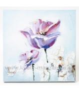 Obraz Fialové Tulipány olej na plátne 50x50 cm ručne maľovaný