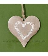Srdce plechové Karamel s vnútorným obrysom srdca 9cm