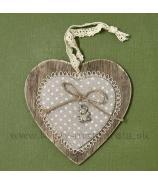 Srdce ploché s kovovým macíkom na vankúšiku 12cm Káro