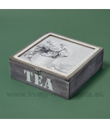 Krabička na čaj TEA s macíkom - 3 priehradky 22cm