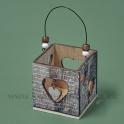 Drevený svietnik so srdcom Rukopis 8x8 cm