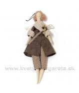 Anjelik bábika DOLY na posadenie v šatách s mašľou béžová