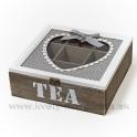 Drevená krabička na čaj s vykrojeným srdcom, deväť priehradok, hnedo sivá 24cm