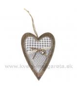 Drevené štíhle srdce s mackom na vankúšiku 19cm