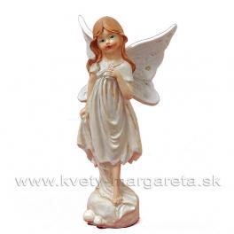 Dievčatko motýlik stojace  biela 16cm