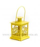 Lampášik kovový krížový so sklom žltý 11cm