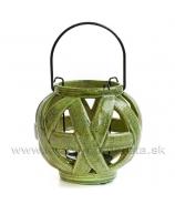 Záhradná lampa keramická Crackle zelená 14cm