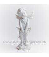 Anjel Amor s lukom stojaci biely 16cm