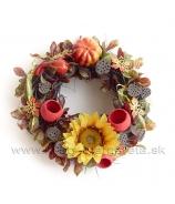 Jesenný veniec s tekvicami a slnečnicou 25cm