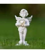 Anjel Amor sediaci s perleťovým srdiečkom 6cm