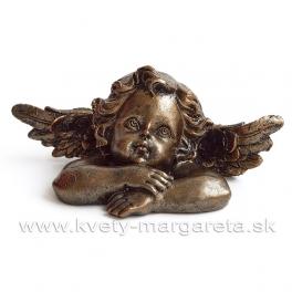 Amor hlava podopretá rukami bronzová patina 16cm