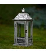 Lampáš záhradný sokel s ornamentom sivá Antik patina 49cm