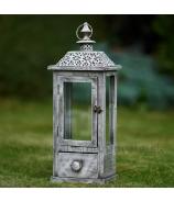 Lampáš záhradný - sokel s ornamentom sivá Antik patina 49cm