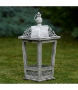 Lampáš záhradná LUCERNA s kruhmi sivá Antique patina 30 cm