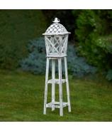 Lampáš záhradná LUCERNA s kruhmi biela 30 cm