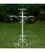 Svietnik stojanový kovaný trojramenný na 4 sviečky 65cm