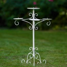 Svietnik stojanový kovaný trojramenný na 4 sviečky 65cm - zľava 50%