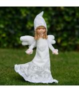 Dievčatko anjelik stojace v bielostrieborných šatách 40 cm