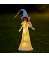 Dievčatko anjelik v bielostrieborných šatách 40 cm