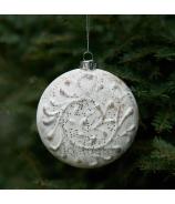 Sklenená Vianočná guľa s reliéfnym ornamentom 10cm bielo krémová matná