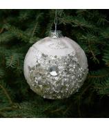 Sklenená Vianočná ozdoba cibuľka zamrazený ľad s perličkami a flitrami bielo strieborná 8cm