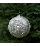 Sklenená Vianočná ozdoba guľa ľadové kvety s kryštálmi a korťálkami bielo strieborná 8cm