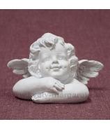 Anjel hlava opretá na rukách krémová Antik patina 12cm