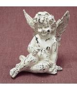 Anjel usmiaty hlava opretá na rukách krémová Antik patina 12cm