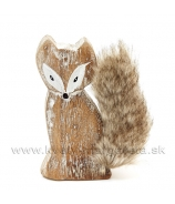 Líška drevená s huňatým chvostom 13cm